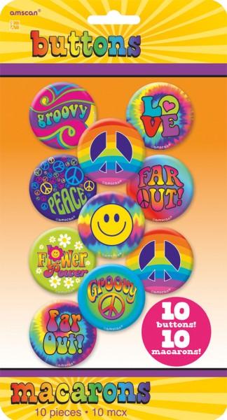 60er Jahre Hippie Button Be Groovy 10 Stück