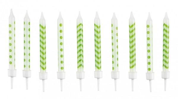Vela pastel blanca con estampado verde kiwi incluye soporte 10 piezas
