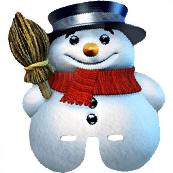 Masque de bonhomme de neige en carton d'hiver