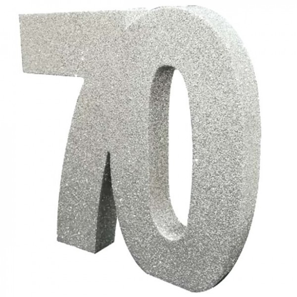 Silver number 70 glittering table decoration