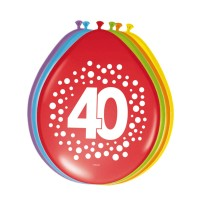 8 Ballons Happy 40 Dots 30cm