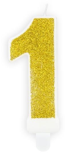 Candela numero 1 oro glitterato