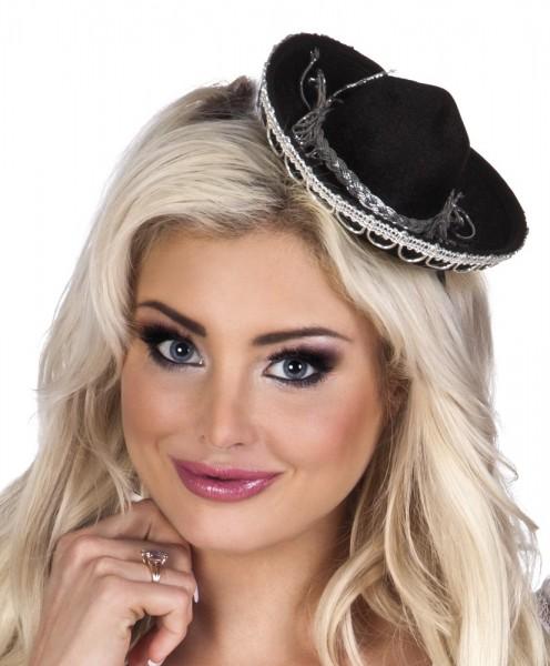 Schwarzer Mini Sombrero Haarreif