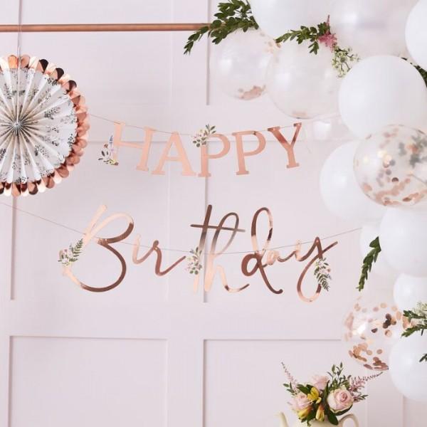 Guirnalda de flores silvestres feliz cumpleaños 4m