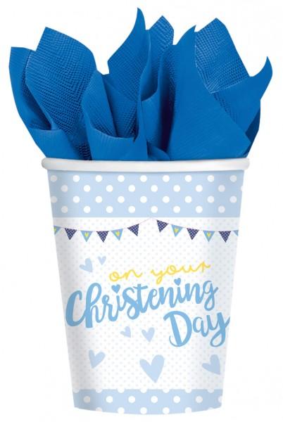 8 vasos de papel del día del bautizo azul 266ml