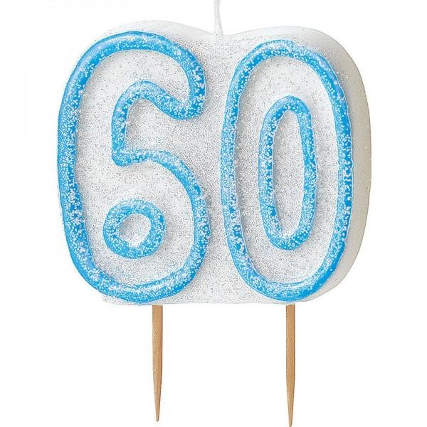 Happy Blue Sparkling 60th Birthday Tortenkerze