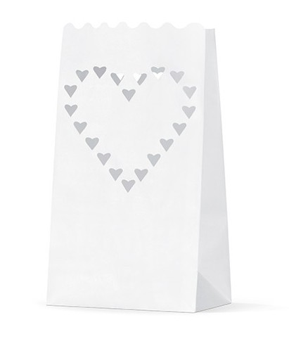 10 light bags with heart motif 26cm