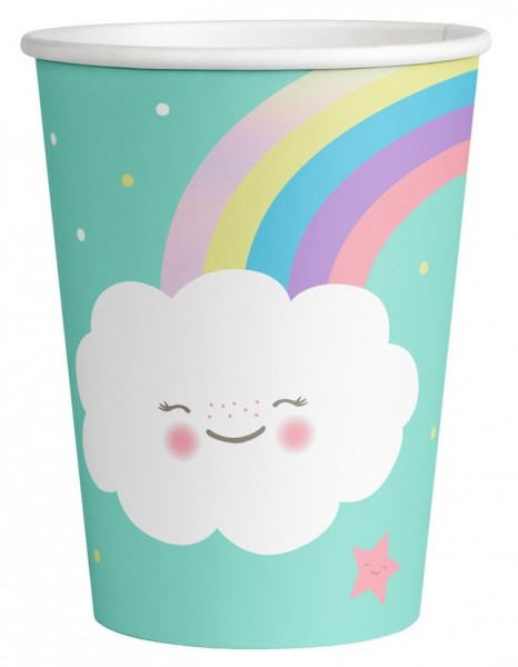 8 vasos de papel Sweet Clouds World 250ml