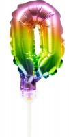 Regenbogen Tortendeko Ballon Zahl 0