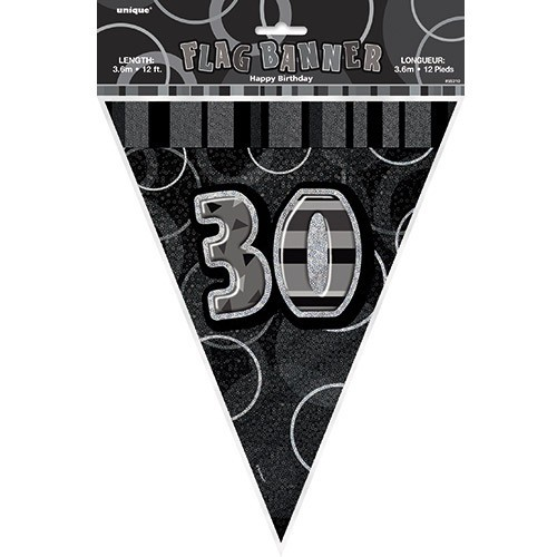 30th birthday black and white party pennant chain