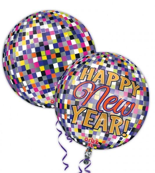 Ballon aluminium boule disco Happy New Year 40cm