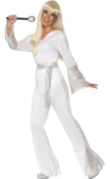 Karaoke Girl 70er Jahre Damenkostüm Weiß