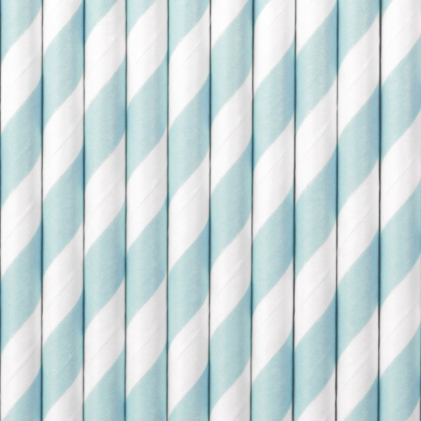 10 papierowych słomek w paski pastelowy niebieski 19,5 cm