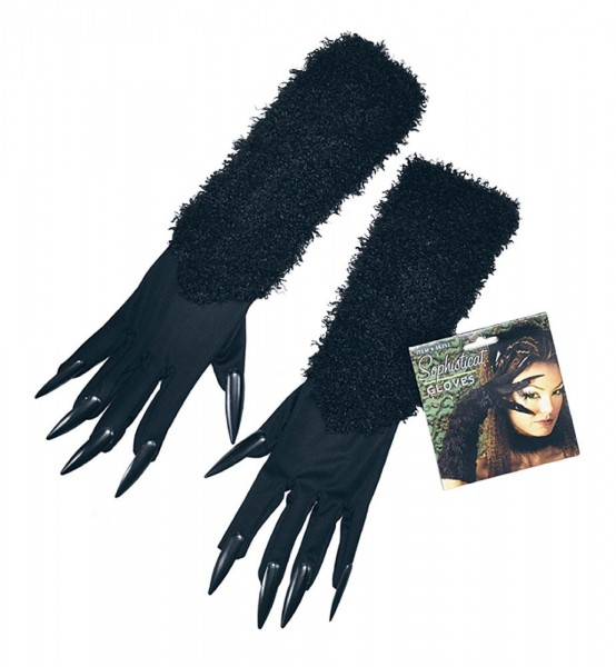 Schwarze Katzenhandschuhe Mit Krallen & Fell