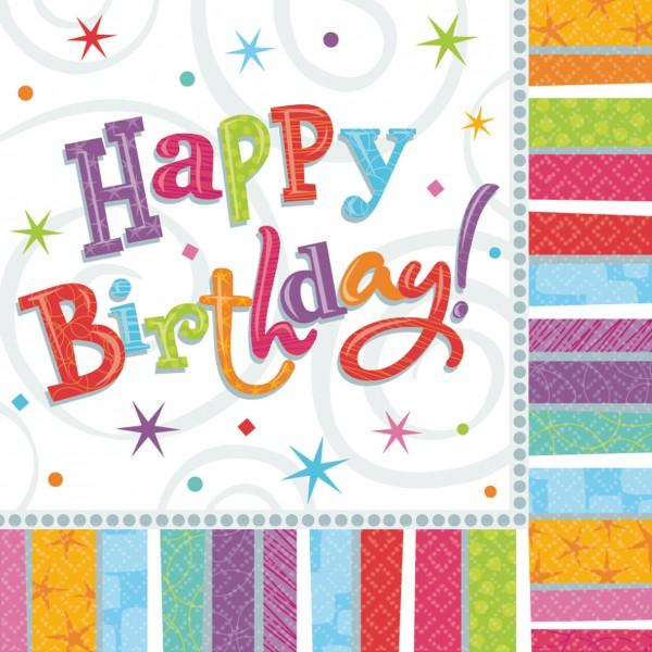 Happy Birthday Serviette Regenbogen 33x33cm 16er Set 1