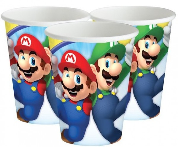 8 vasos de papel Super Mario World 266ml