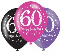6 Pink 60th Birthday Ballons 27,5cm