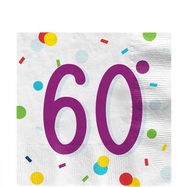 60. Geburtstag Konfetti Servietten 33cm