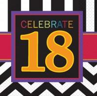 18.Geburtstag Serviette Black & White Party 16 Stück