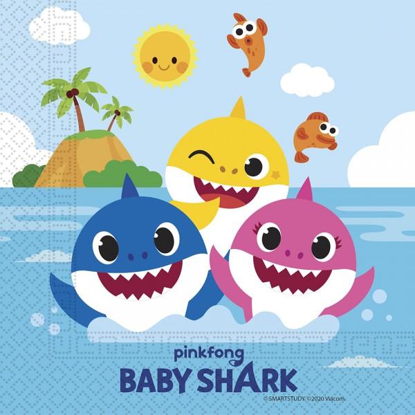 20 FSC Baby Shark Servietten 33cm