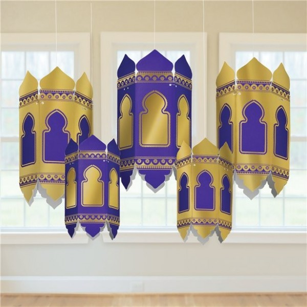 5 linternas de cartón de Eid Mubarak