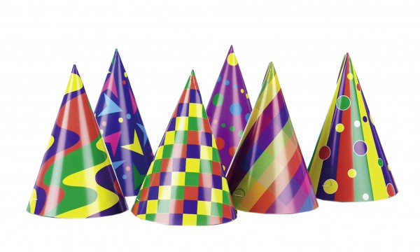 6 colorful party hats Groovy Carnival 15cm
