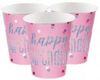 8 Pink Dots Birthday Pappbecher 266ml