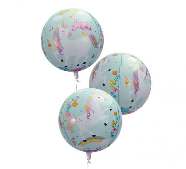 Ballon aluminium Licorne Joyeux anniversaire 55cm