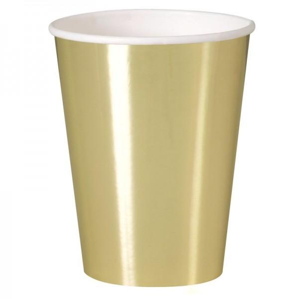 8 vasos de papel Vera oro brillo 355ml