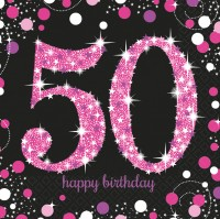 16 Pink 50th Birthday Servietten 33cm