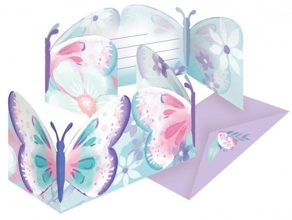 8 Schmetterling Garten Einladungskarten