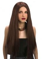 Perruque cheveux longs lisses marron