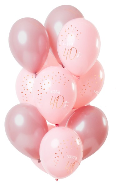 40th birthday 12 latex balloons elegant pink