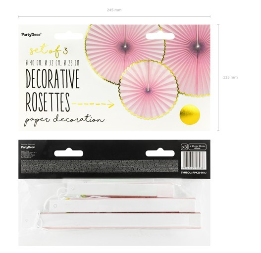 3 candy party paper rosettes light pink