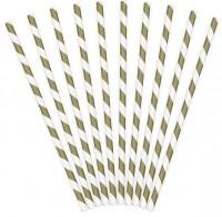 10 gestreifte Papier Strohhalme braun 19,5cm