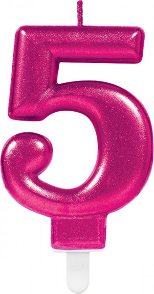 Number candle 5 in Sparkling Pink 7,5cm
