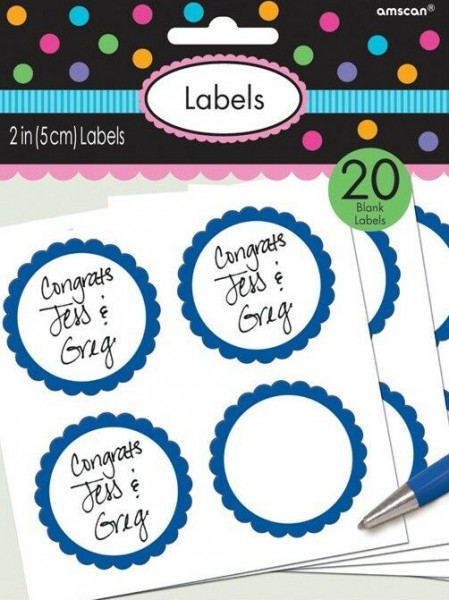 20 étiquettes avec bordure fleurie bleu mer