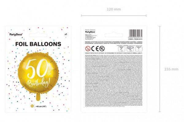 Glossy 50th Birthday Folienballon 45cm