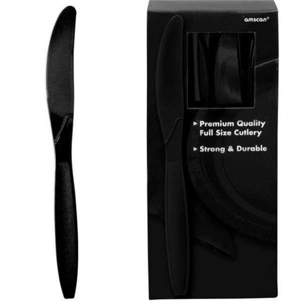 100 czarnych noży wielokrotnego użytku 17 cm