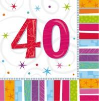 16 Bunte Regenbogen Servietten 40.Geburtstag