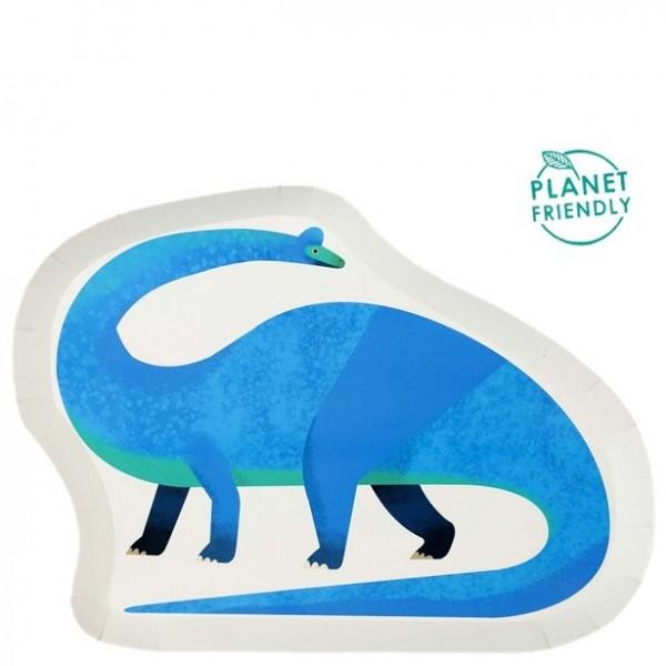 12 nachhaltige Dino Pappteller 28 x 20cm