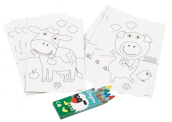 Adorable juego de colorear animales de granja con crayones 20 piezas