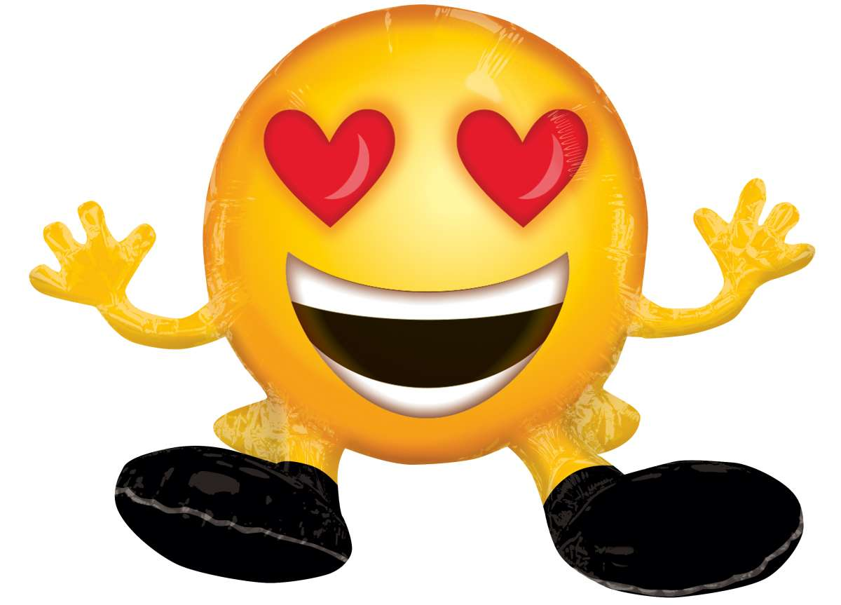 Folienballon Verliebter Herzaugen Smiley Party De