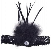 Schwarzes Flapper Pailletten Stirnband Mit Federn