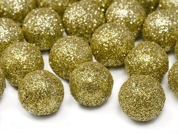 25 boules décoratives scintillantes en or