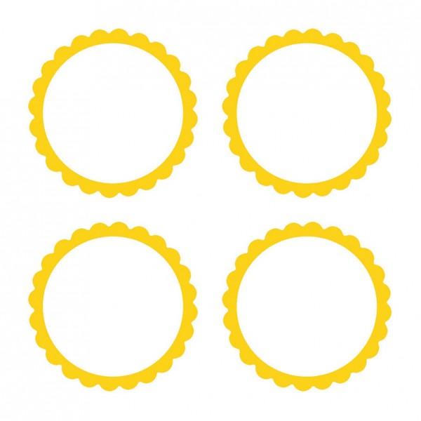 20 étiquettes autocollantes avec bordure fleurie jaune