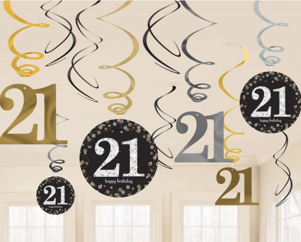 12 percha espiral dorada 21 cumpleaños 61cm