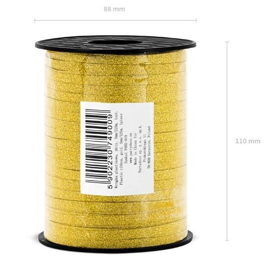 225m Glitzer Geschenkband in Gold
