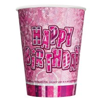8 Happy Pink Sparkling Birthday Pappbecher 266ml