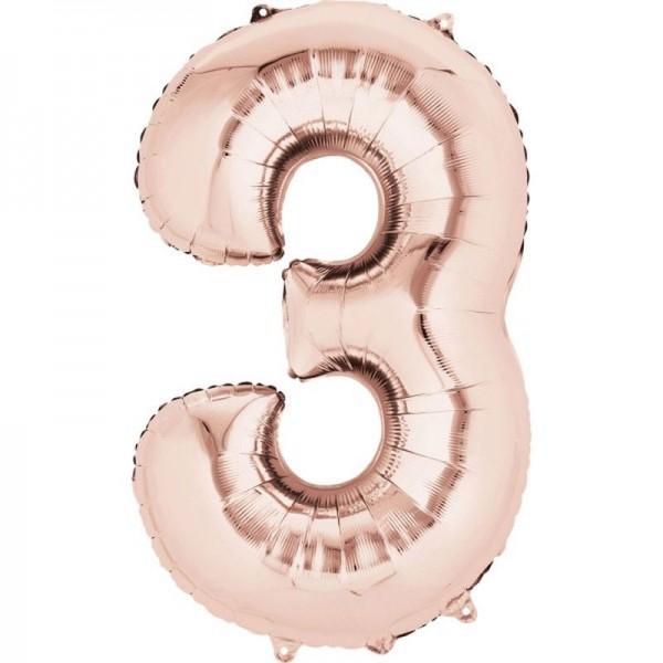 Ballon aluminium numéro 3 or rose 86cm